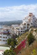 Moraira village mediterranean country in Spain Stock Photos