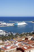 Stock Photo of denia alicante spain village port high castle view
