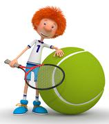 Boy tennis player - stock illustration