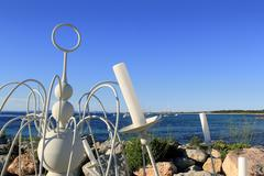 candelabrum white Formentera island blue sea - stock photo