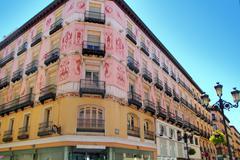 Zaragoza city Spain Alfonso I street coloful building Stock Photos