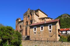 Siresa romanesque monastery in Huesca Aragon - stock photo