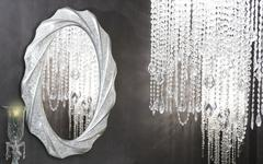 Stock Photo of Crystal strass lamp oval mirror modern decoration