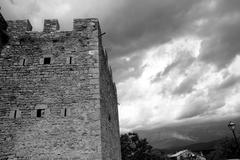 Castle fort wall in Ainsa village Aragon Pyrenees Stock Photos