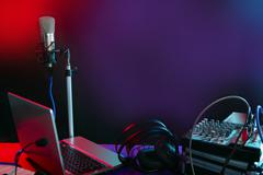 Microphone in the night colorful light - stock photo