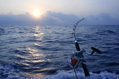 Angler boat big game fishing in saltwater - stock photo