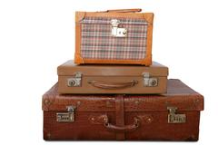 Aged old luggage leather vintage bags Stock Photos