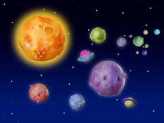 Stock Photo of Space planets fantasy handmade universe