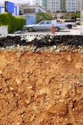 Stock Photo of road excavation earthquake city cross section
