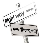 Right way and wrong way with white road sign Stock Illustration