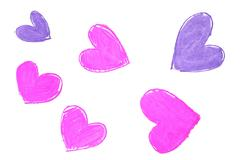 Colorful hand painted heart shapes draw - stock photo