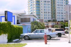 Miami beach casual coast city cars and buildings - stock photo