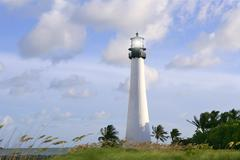 Lighthouse in Key Biscayne Florida sunset Stock Photos
