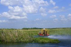Airboat in Everglades Florida Big Cypress - stock photo