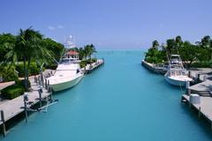 Florida Keys fishing boats in turquoise waterway Stock Photos
