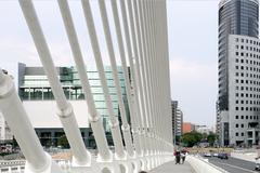 City scape urban bridge scene in Valencia - stock photo