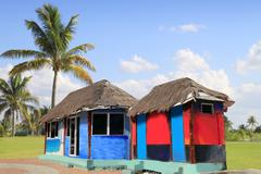 hut palapa colorful tropical cabin palm trees - stock photo