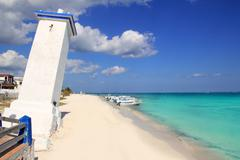 lighthouse Puerto Morelos hurricane inclined - stock photo