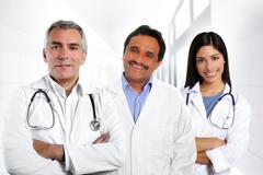 doctors multiracial expertise indian caucasian latin - stock photo
