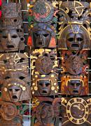 aztec mayan wooden indian mask handcrafts - stock photo