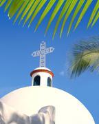 Playa del Carmen white Mexican church archs belfry - stock photo