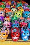 Stock Photo of Aztec skulls Mexican Day of the Dead colorful