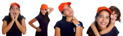 Beautiful Latin teen hispanic girl mixed gestures Stock Photos