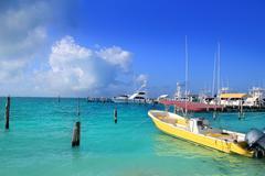 Isla Mujeres Mexico boats turquoise Caribbean sea Stock Photos