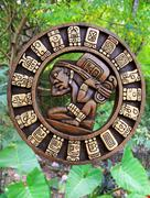 Calendar Mayan culture wooden on Mexico jungle Kuvituskuvat