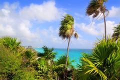 Caribbean beach Tulum Mexico turquoise aqua - stock photo