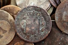 coin peseta real old spain republic 1937 currency and cents - stock photo
