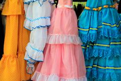Costumes gypsy ruffle dress andalusian Spain Stock Photos