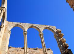 Arches structure of ancient Monastery in Spain - stock photo