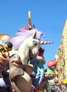 fallas Valencia papier mache popular fest figures - stock photo