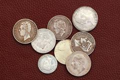 Eighteenth and nineteenth century spain old coins Stock Photos