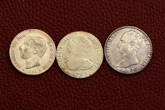 five pesetas spain old coins Alfonso XII Carlos III - stock photo