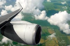 Airplane wing aircraft turbine flying Stock Photos