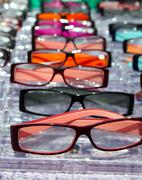 Glasses for close up view in rows many eye glasses Stock Photos