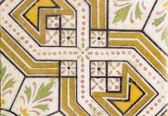 arab traditional creamic floor tile flower design - stock photo