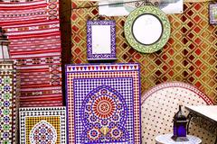 Arab mosaic deco tiles and fabric decoration Stock Photos
