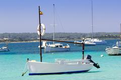 estany des peix in Formentera lake anchor boats - stock photo