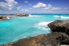 Escalo es calo Formentera north rocky coast aqua Stock Photos