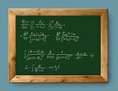 Board green blackboard difficult mathematical formula Stock Photos