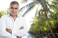 Caribbean tourist senior man shirt palm trees jungle Kuvituskuvat