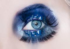 blue eye makeup macro night city skyline eyelids - stock photo
