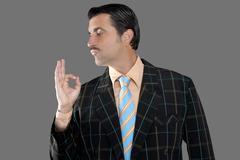 salesman occupation tacky man ok gesture profile - stock photo