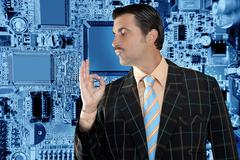 geek salesperson man ok gesture electronics business - stock photo