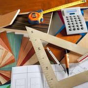 Stock Photo of Architect interior designer workplace carpenter design