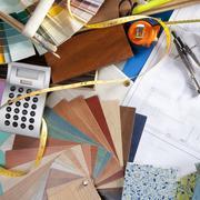 Architect desk interior designer workplace Stock Photos