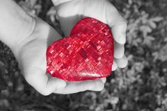 Heart in children\'s hands b/w Stock Photos